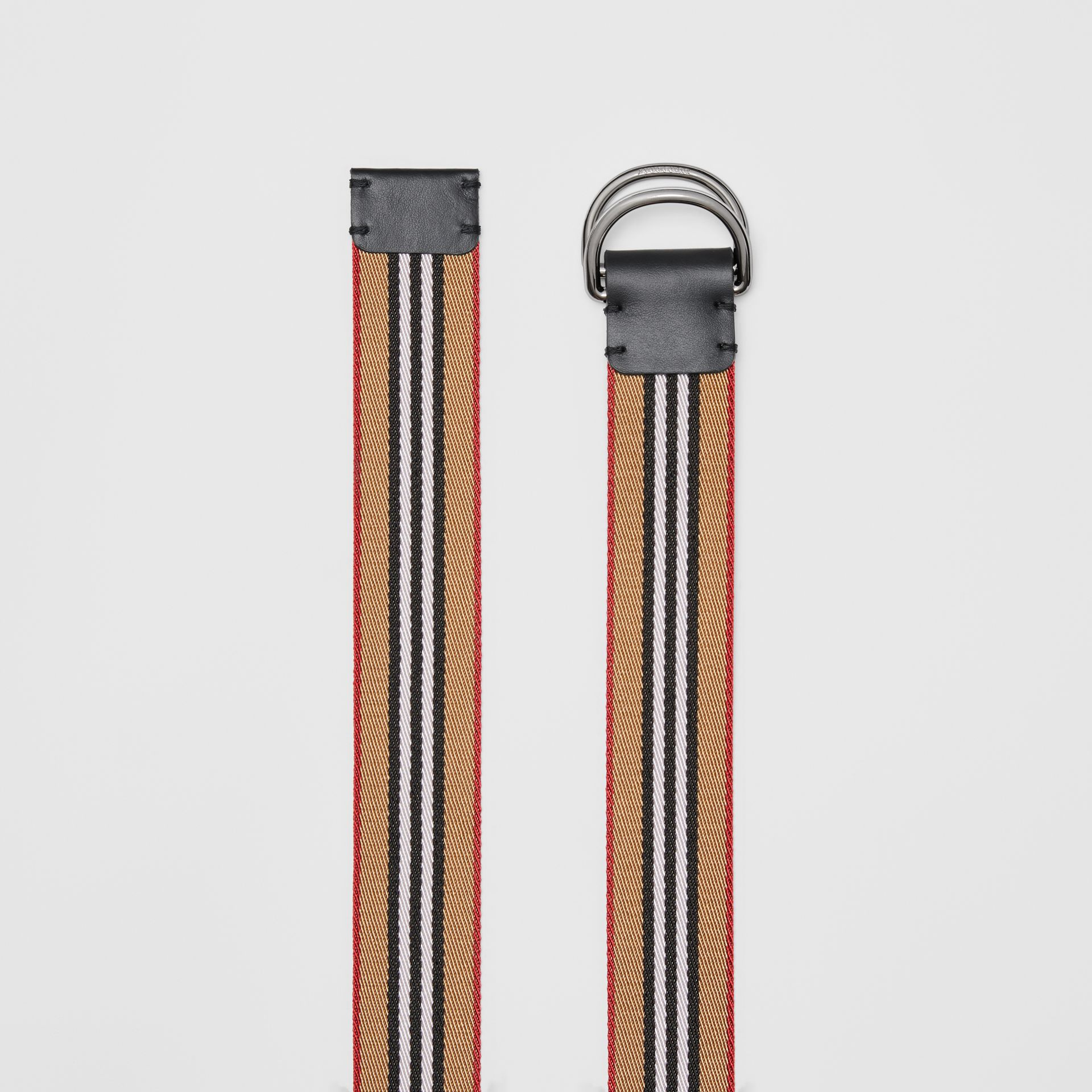 Icon Stripe Double D-ring Belt in Antique Yellow - Men | Burberry United States - gallery image 5