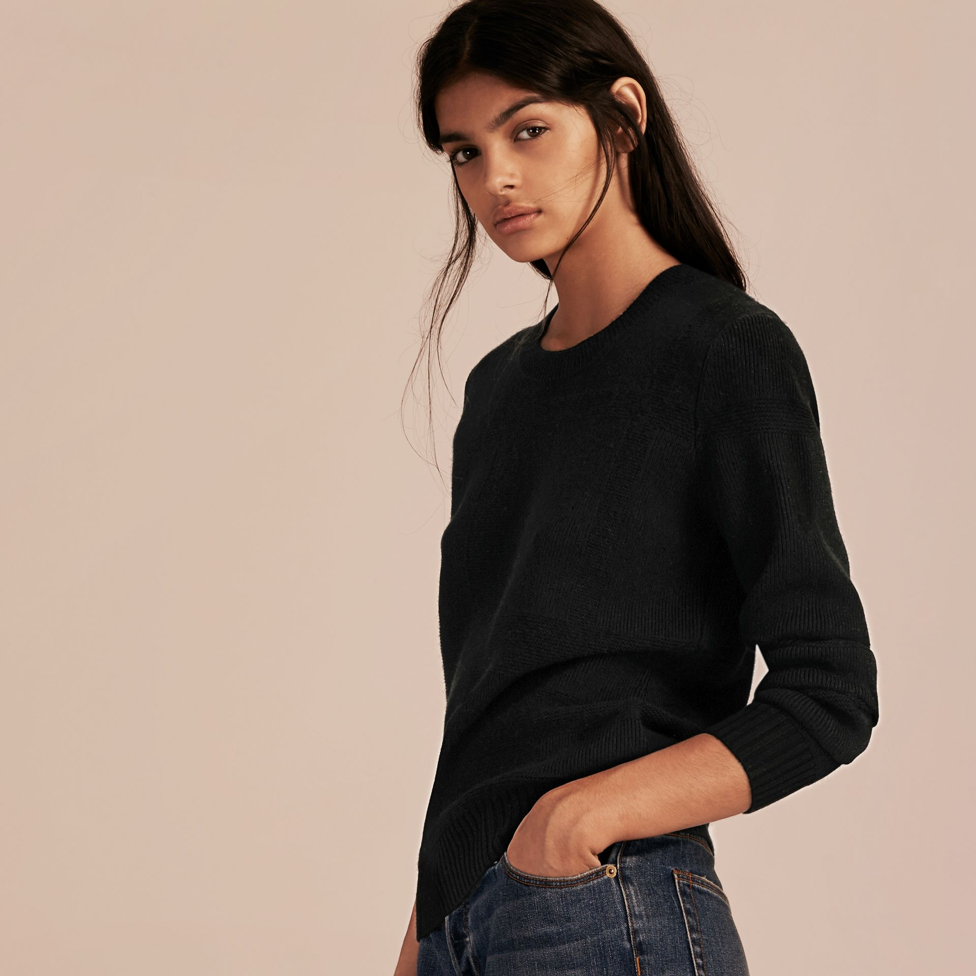 Check-knit Wool Cashmere Sweater Black - gallery image 6