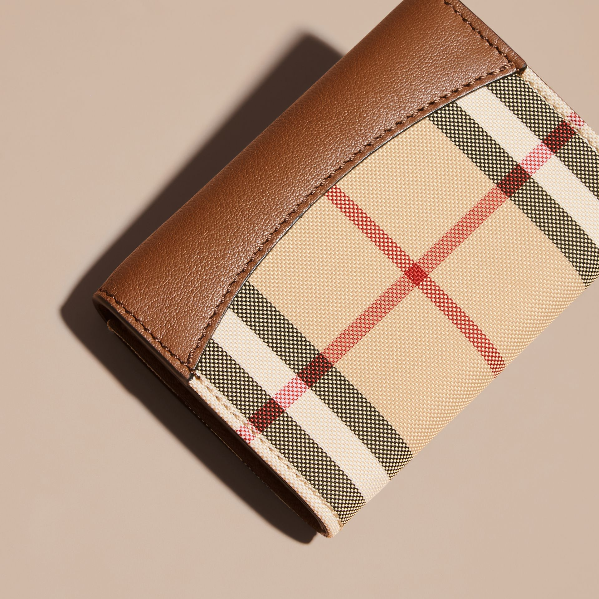 Horseferry Check and Leather Card Case in Tan - gallery image 4