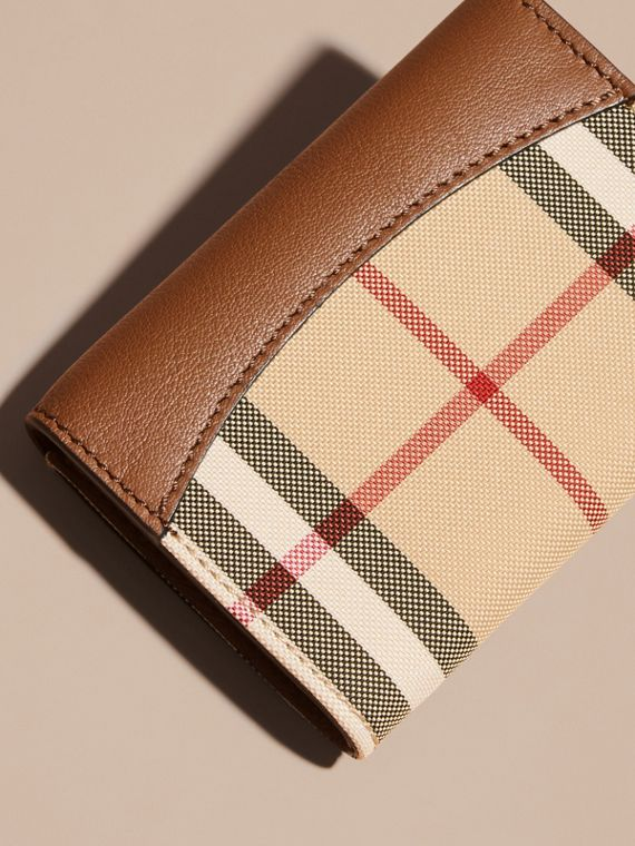 Horseferry Check and Leather Card Case in Tan - cell image 3