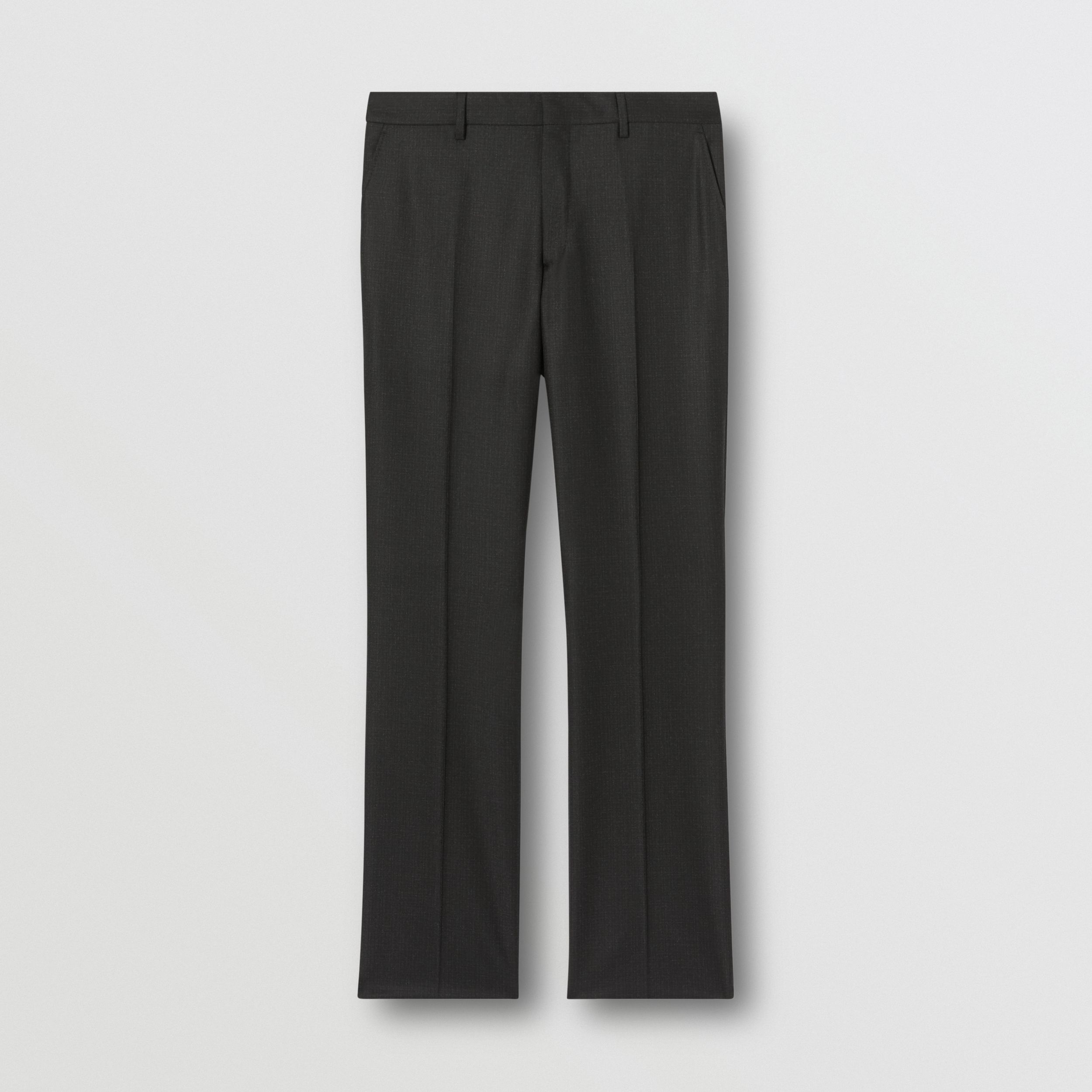 Classic Fit Wool Flannel Tailored Trousers in Black - Men | Burberry - 4