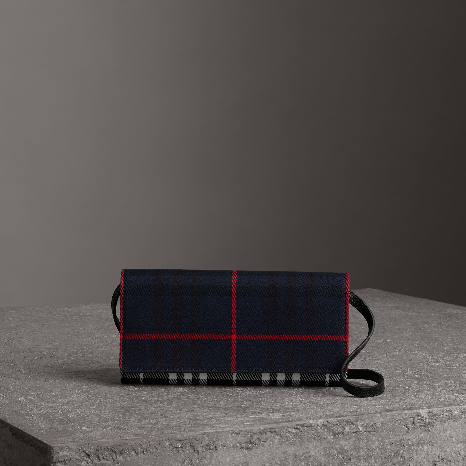 Tartan Cotton and Leather Wallet with Chain in Deep Navy/black - Women | Burberry United States - gallery image 0