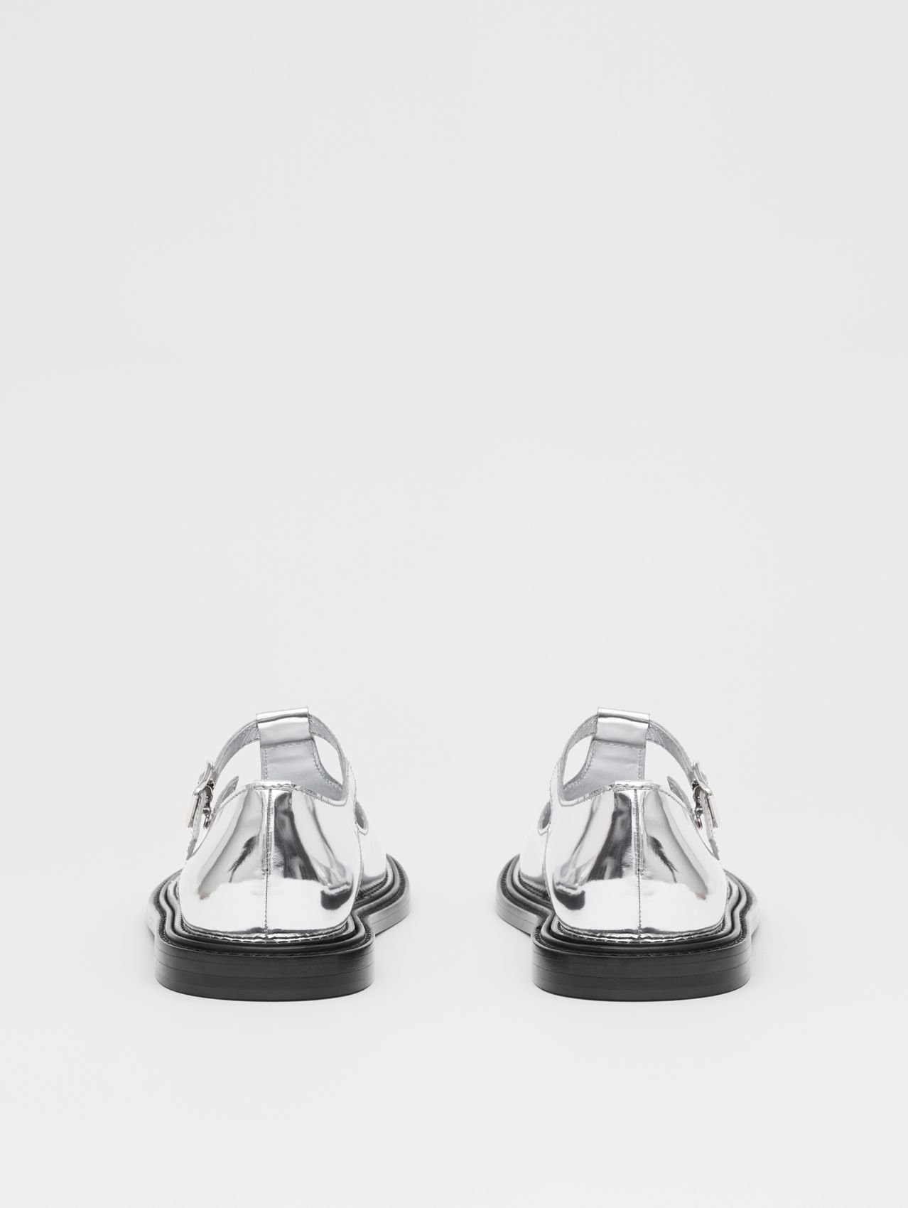Metallic Patent Leather T-bar Shoes in Silver