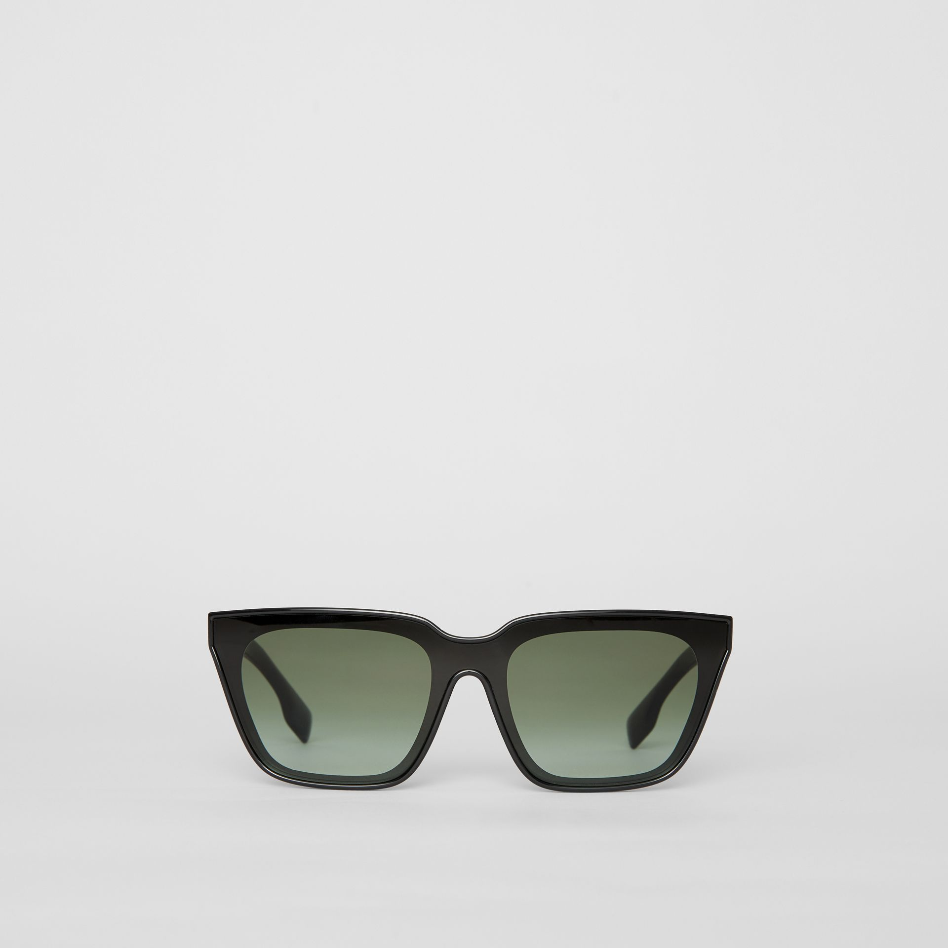 Square Frame Shield Sunglasses in Black - Women | Burberry - gallery image 0