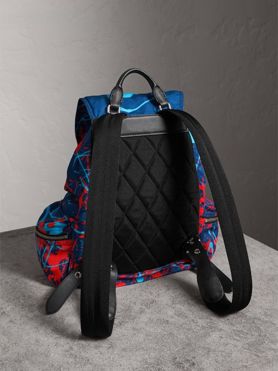 The Large Rucksack in Splash Print in Navy/orange | Burberry Canada - cell image 3