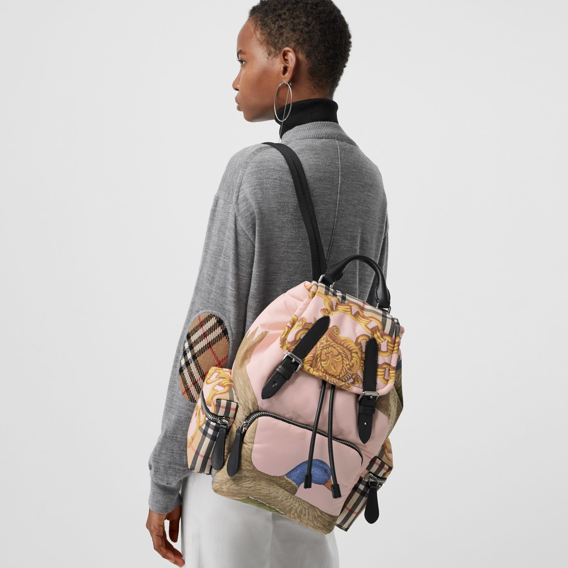 The Medium Rucksack in Archive Scarf Print in Black - Women | Burberry - gallery image 7