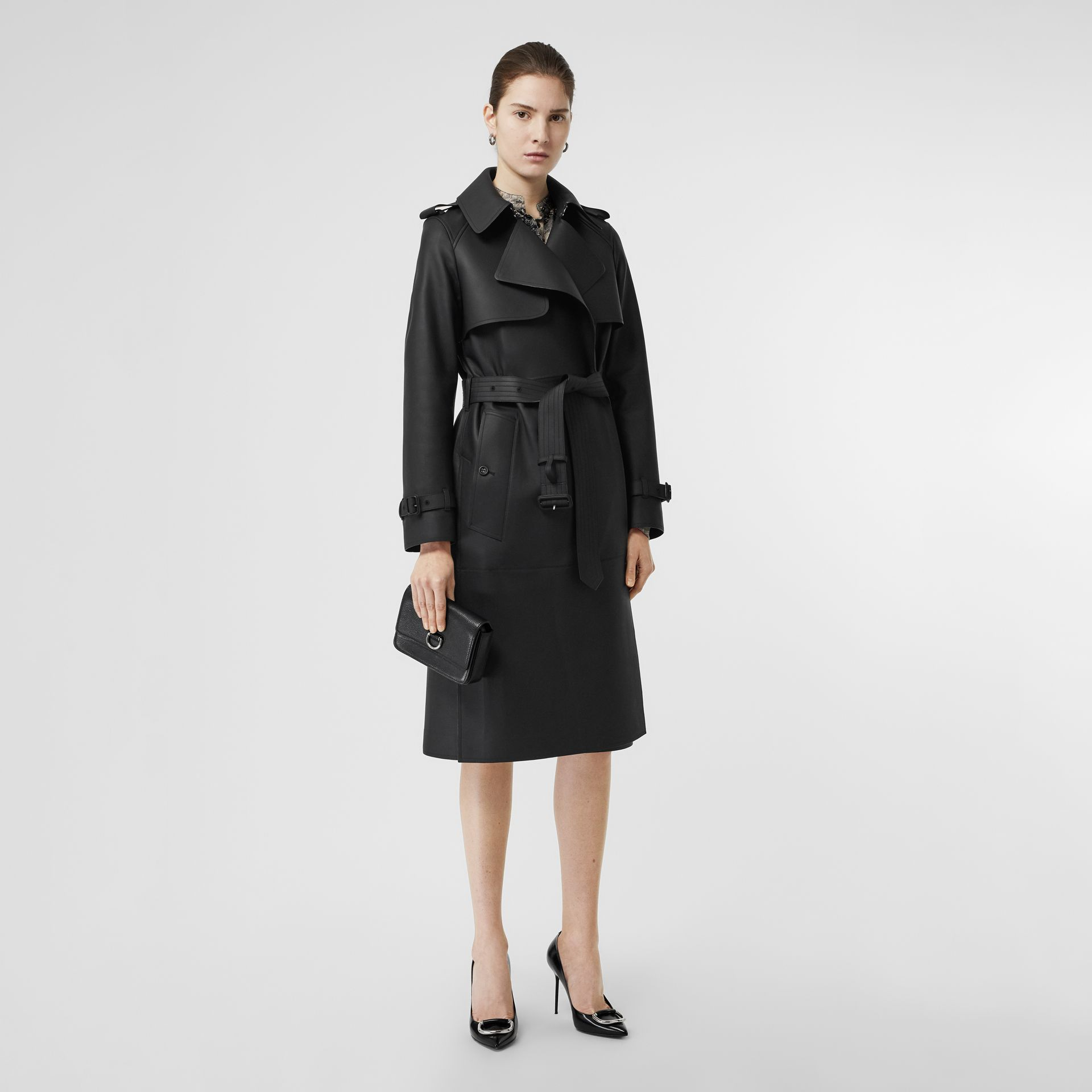 Lambskin Wrap Trench Coat in Black - Women | Burberry - gallery image 0
