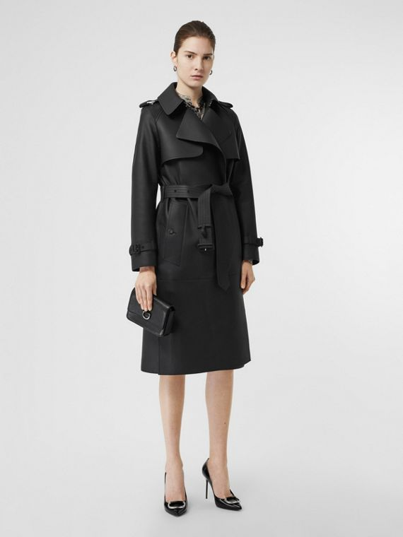 Lambskin Wrap Trench Coat in Black