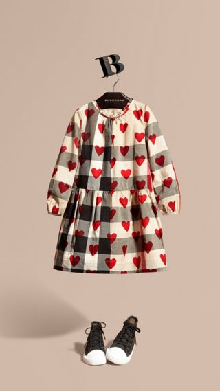 Check and Heart Print Cotton Tunic Dress