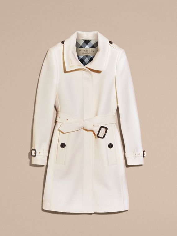 Natural white Technical Wool Cashmere Funnel Neck Coat Natural White - cell image 3