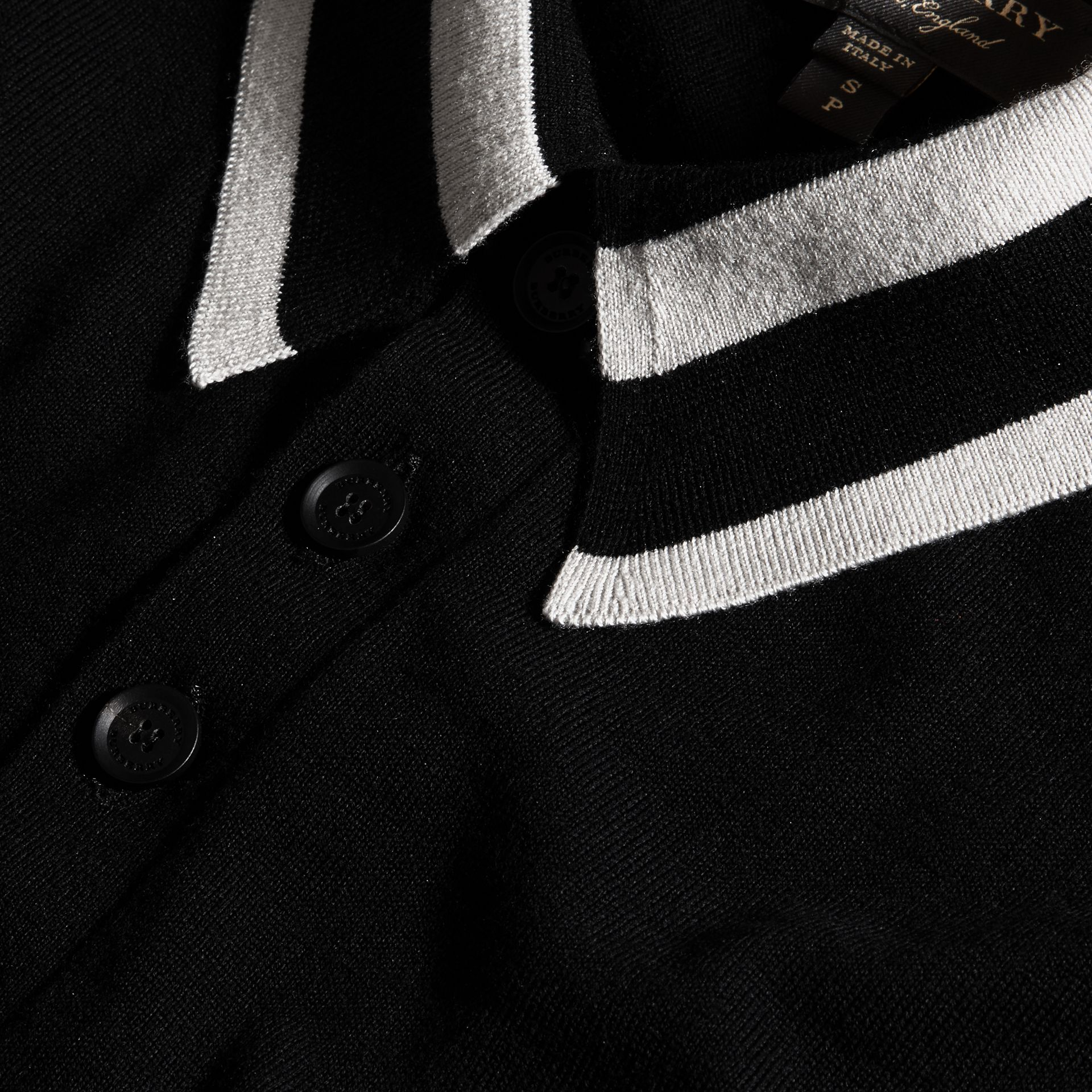 Black/white Striped Collar Wool Blend Polo Shirt - gallery image 2