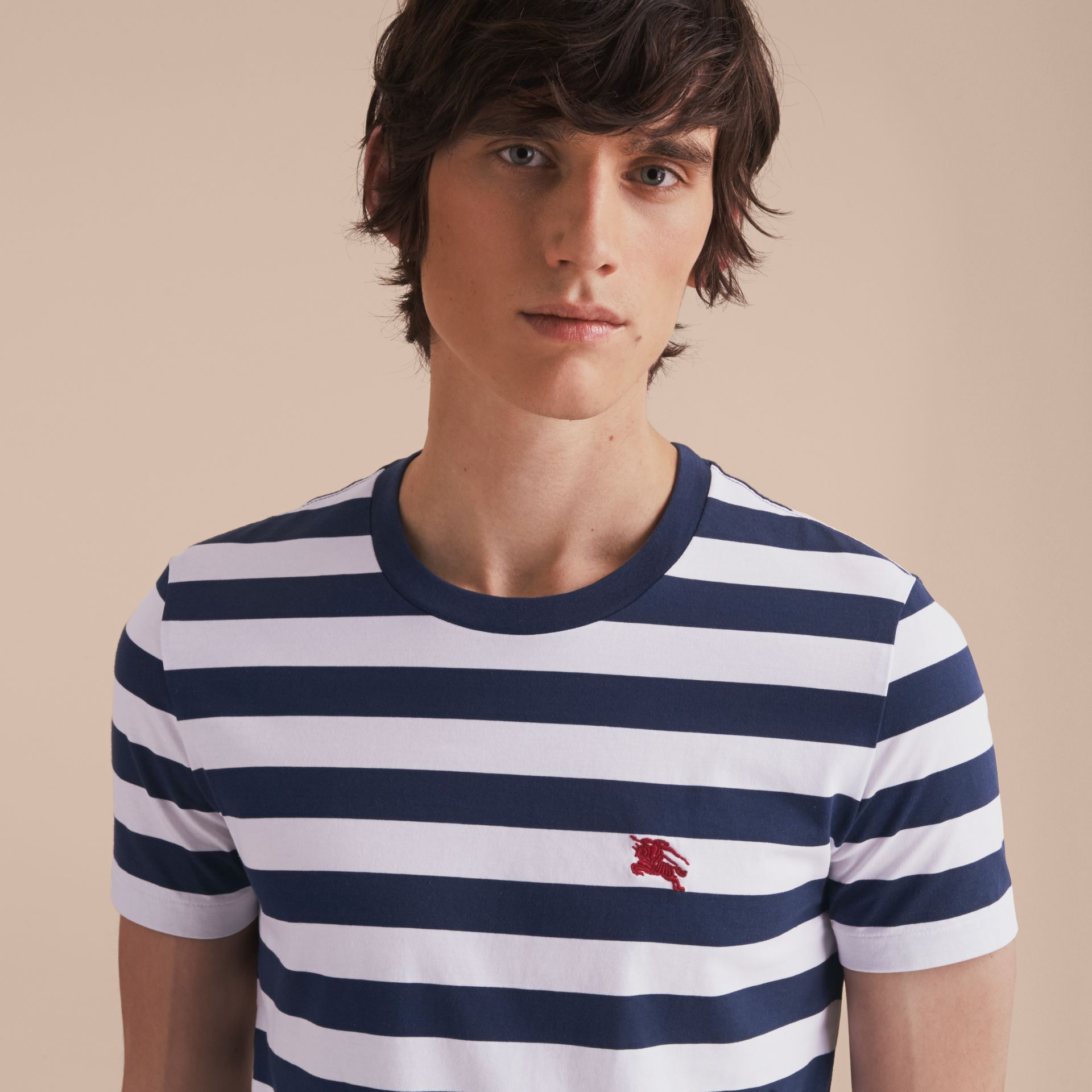 Striped Cotton T-Shirt in White/navy - Men | Burberry - gallery image 5