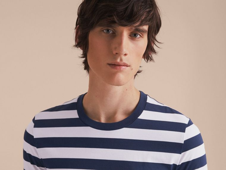 Striped Cotton T-Shirt in White/navy - Men | Burberry - cell image 4