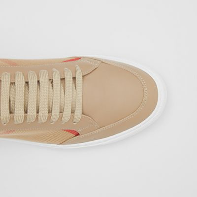 House Check and Leather Sneakers in Tan