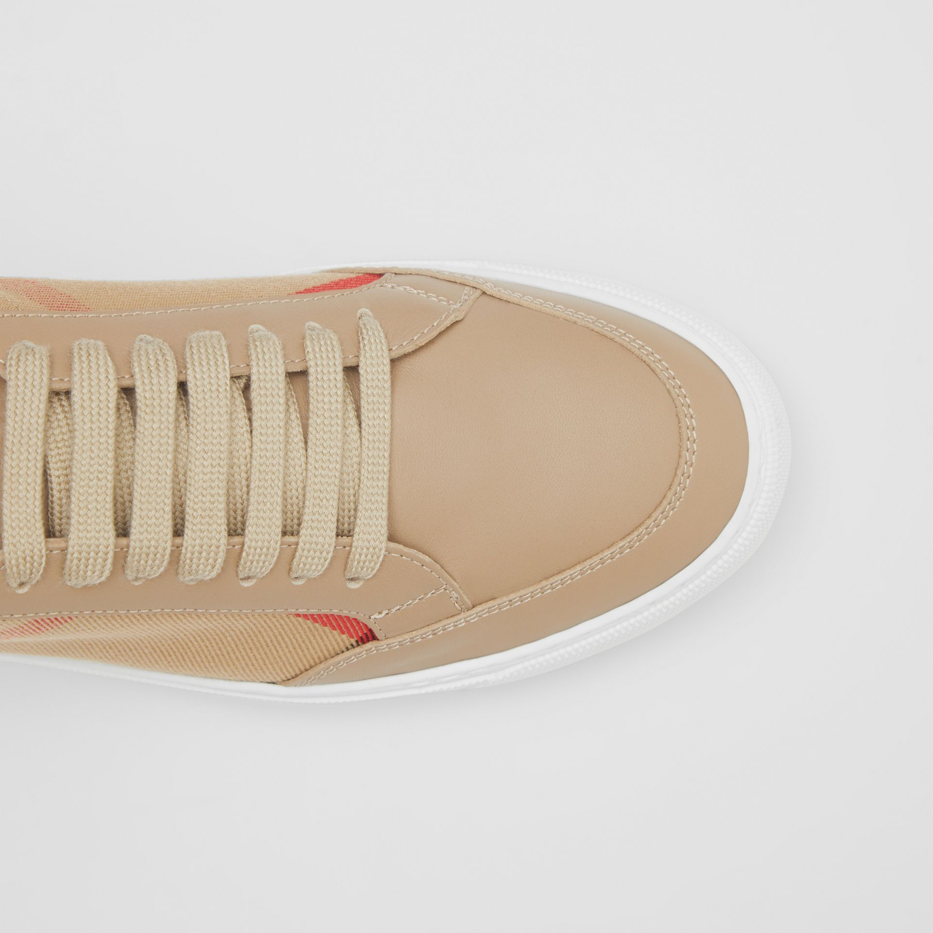 House Check and Leather Sneakers in Tan - Women | Burberry - gallery image 1