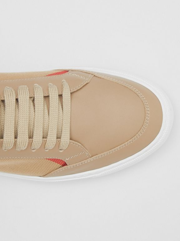 House Check and Leather Sneakers in Tan - Women | Burberry - cell image 1
