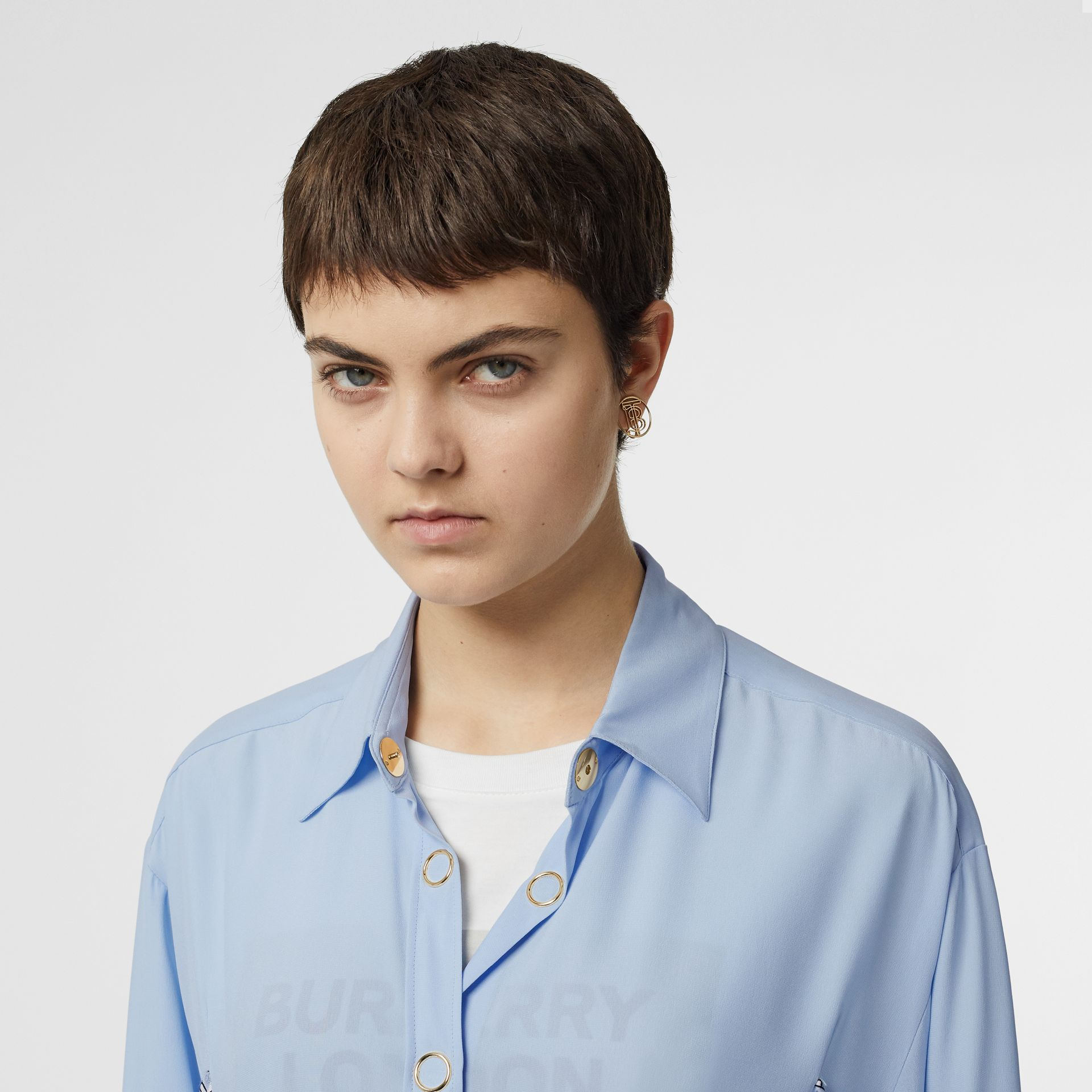 Monogram Print Trim Silk Oversized Shirt in Pale Blue - Women | Burberry Australia - gallery image 1