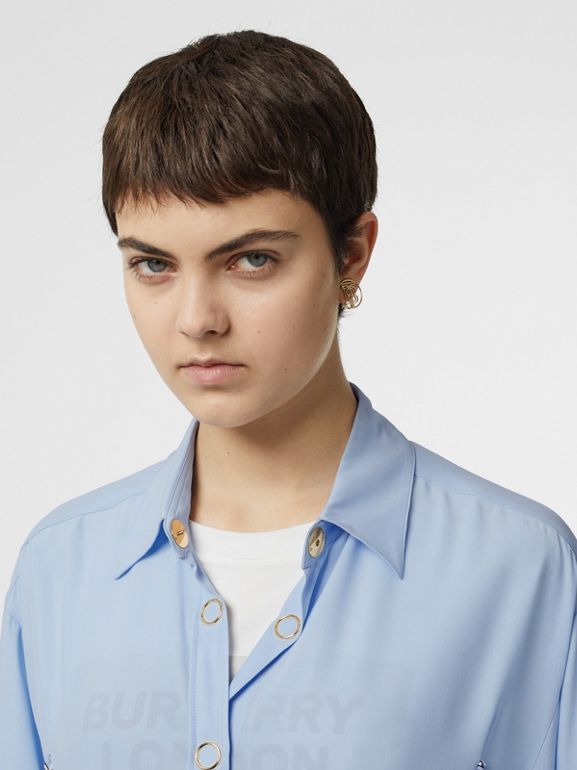 Monogram Print Trim Silk Oversized Shirt in Pale Blue - Women | Burberry Australia - cell image 1