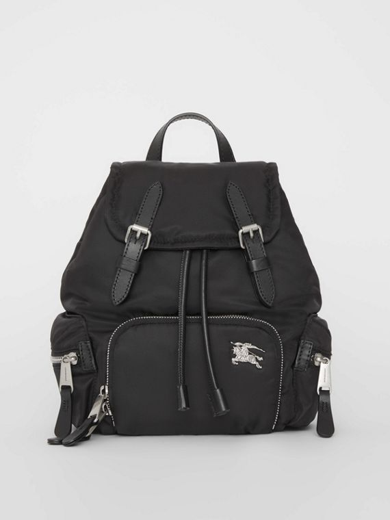 The Small Crossbody Rucksack in Puffer Nylon in Black