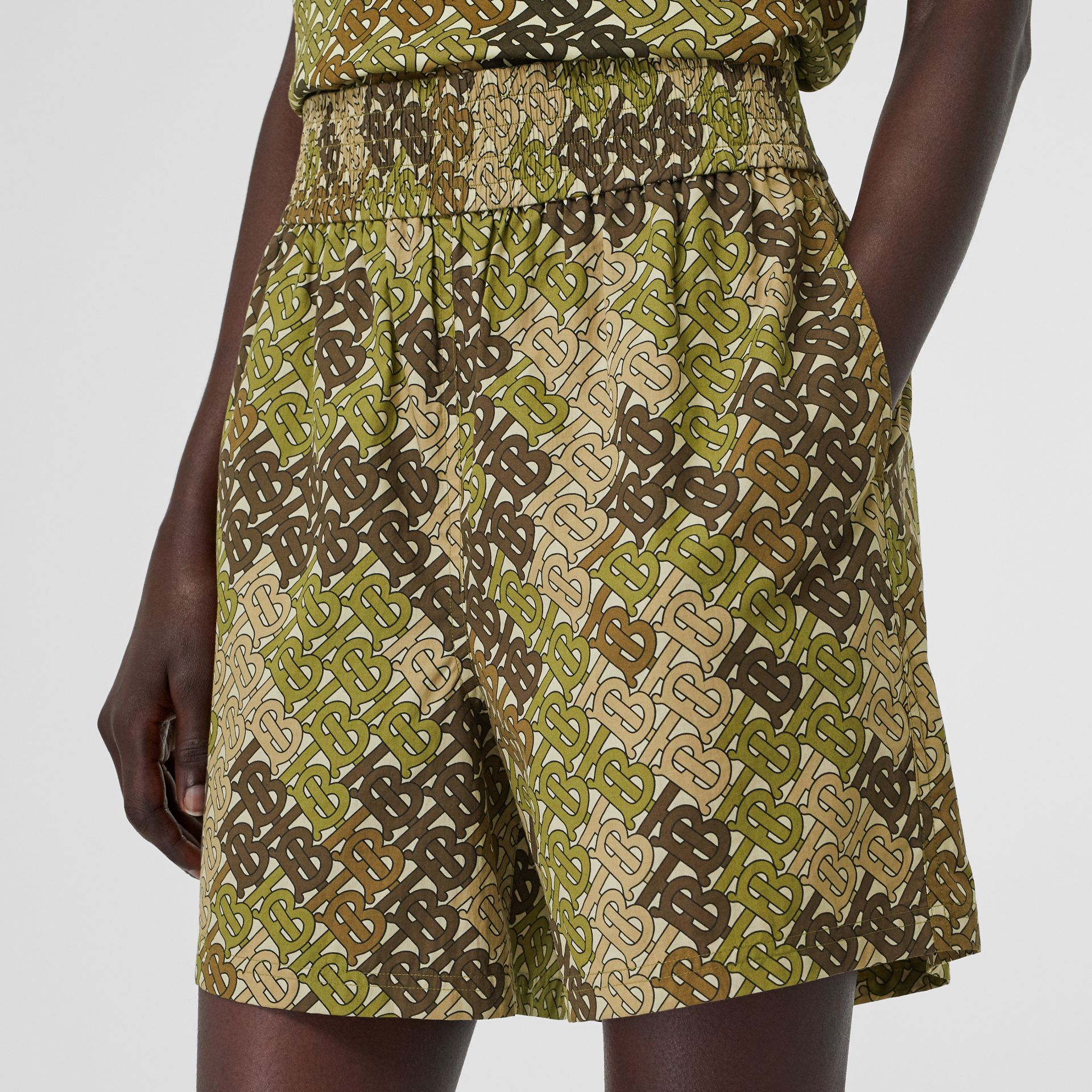 Monogram Print Cotton Poplin Shorts in Khaki Green - Women | Burberry - gallery image 1