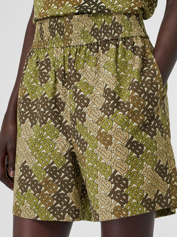 Monogram Print Cotton Poplin Shorts in Khaki Green - Women | Burberry - cell image 1