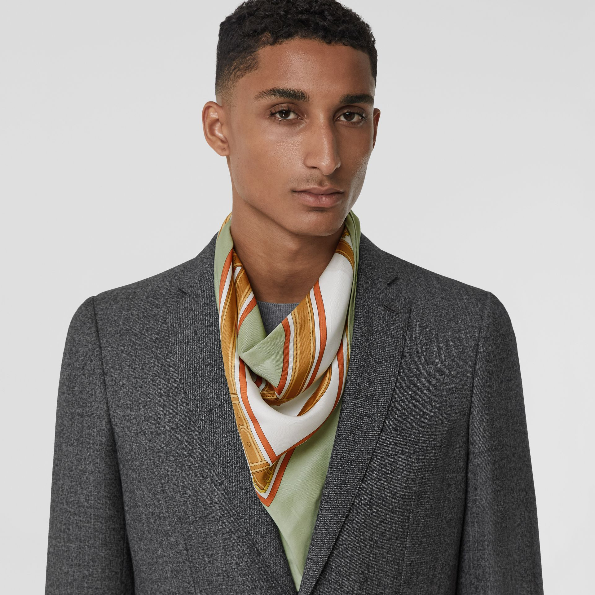 Archive Scarf Print Silk Square Scarf in Stone Green | Burberry United States - gallery image 3