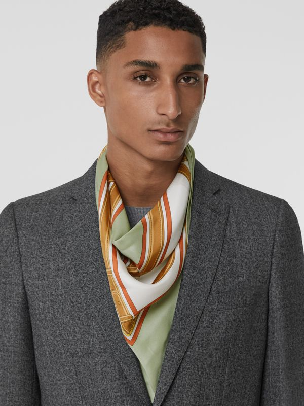 Archive Scarf Print Silk Square Scarf in Stone Green | Burberry - cell image 3