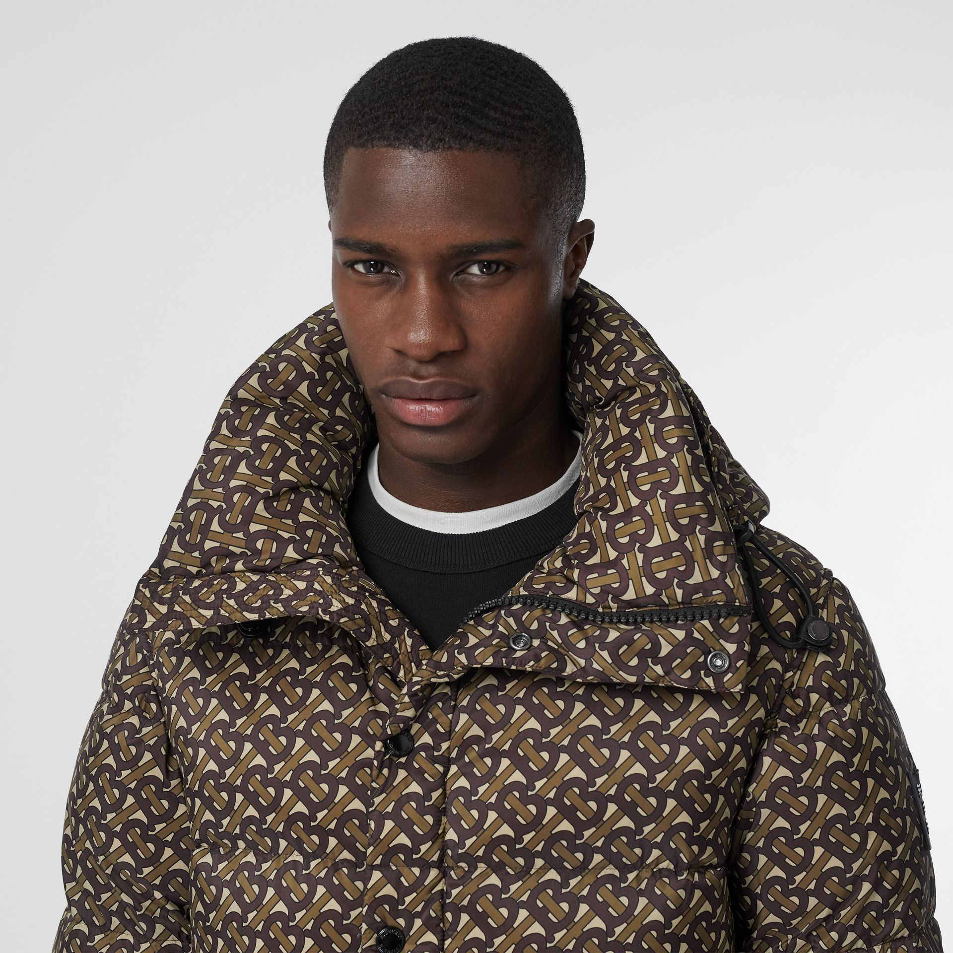 Detachable Sleeve Monogram Print Puffer Jacket in Bridle Brown - Men | Burberry Canada - gallery image 1