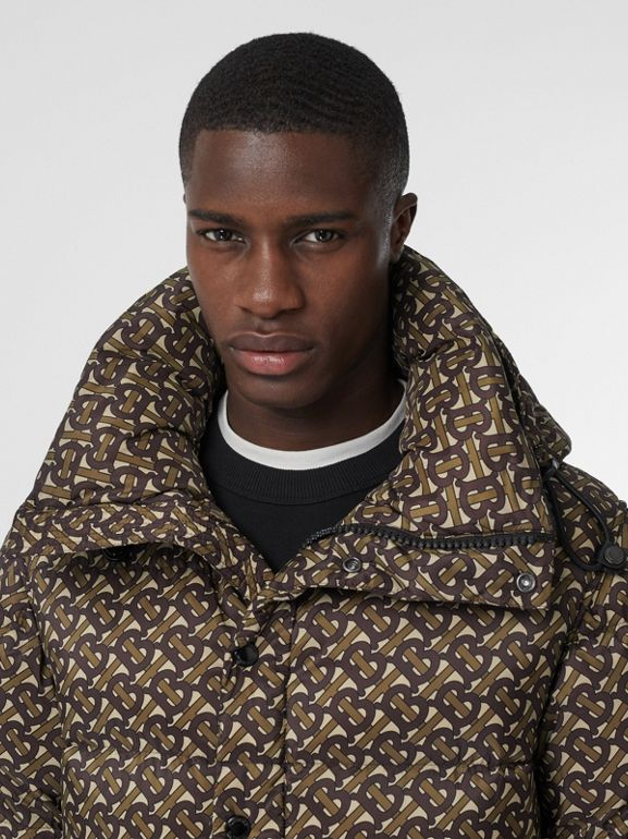 Detachable Sleeve Monogram Print Puffer Jacket in Bridle Brown - Men | Burberry - cell image 1
