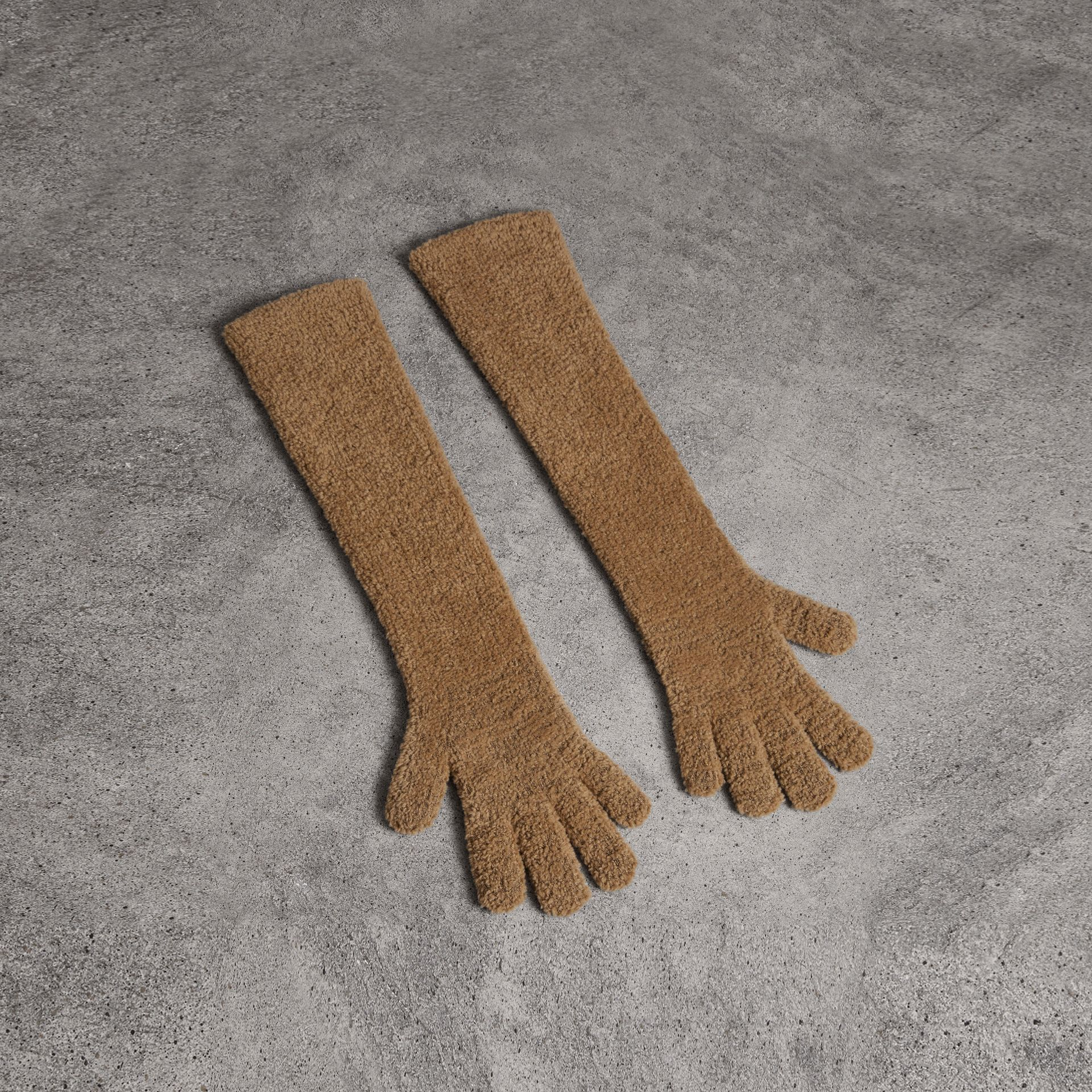 Chenille Longline Gloves in Camel - Women | Burberry - gallery image 0