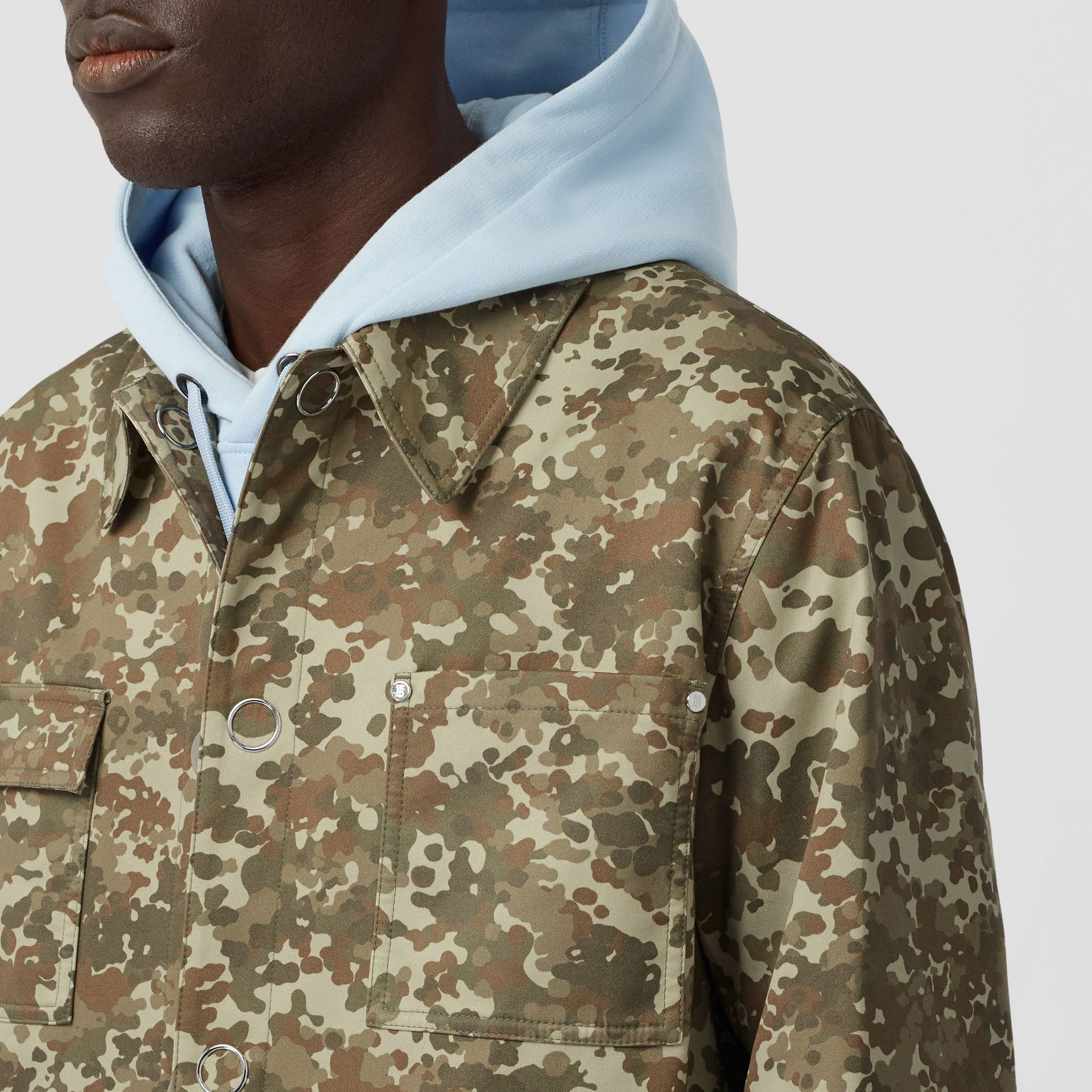 Camouflage Print Cotton Gabardine Field Jacket in Khaki Green - Men | Burberry - gallery image 5