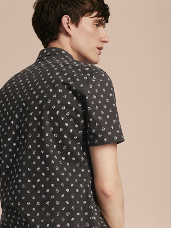 Black Short-sleeved Printed Cotton Linen Shirt - cell image 2