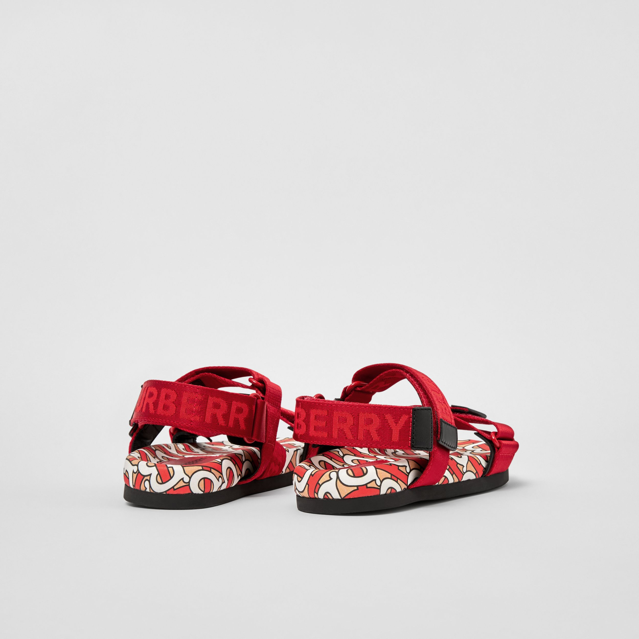 Monogram Print Cotton Gabardine Sandals in Bright Red - Children | Burberry - 3