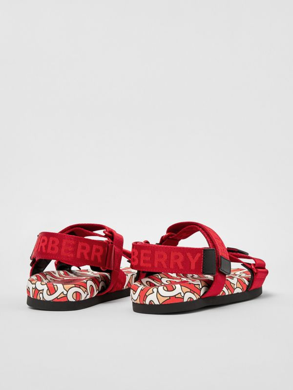 Monogram Print Cotton Gabardine Sandals in Bright Red - Children | Burberry Hong Kong S.A.R - cell image 2