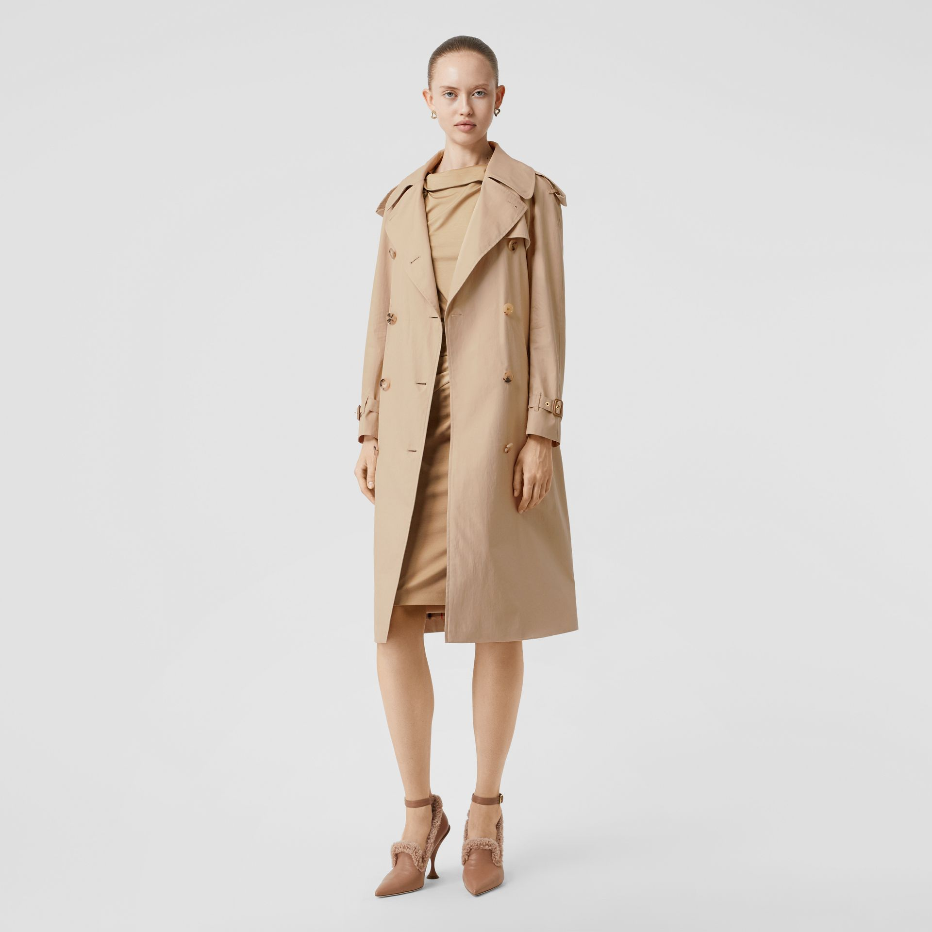 Detachable Collar Cotton Gabardine Trench Coat in Ecru - Women | Burberry - gallery image 5