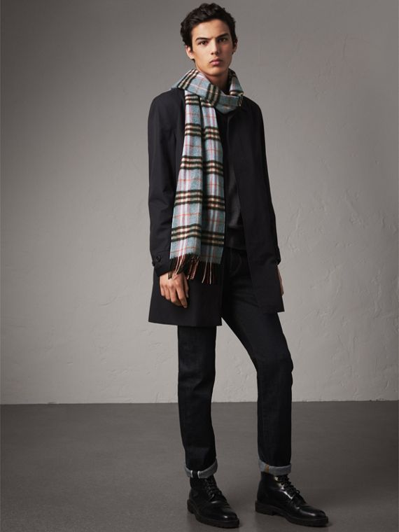 Check Cashmere Scarf in Pale Carbon Blue