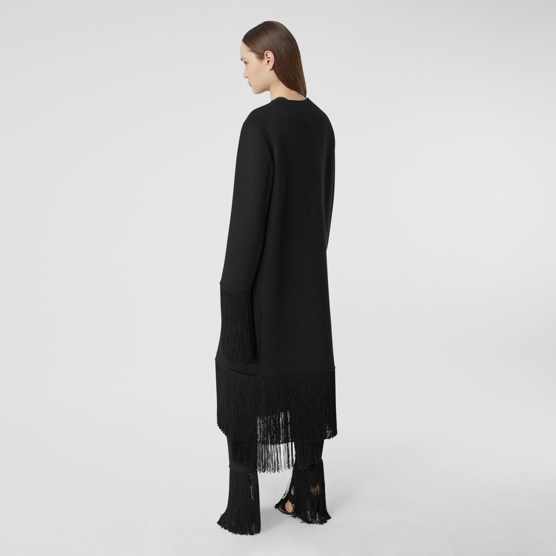 Fringed Double-faced Wool Cashmere Car Coat in Black - Women | Burberry United Kingdom - gallery image 2