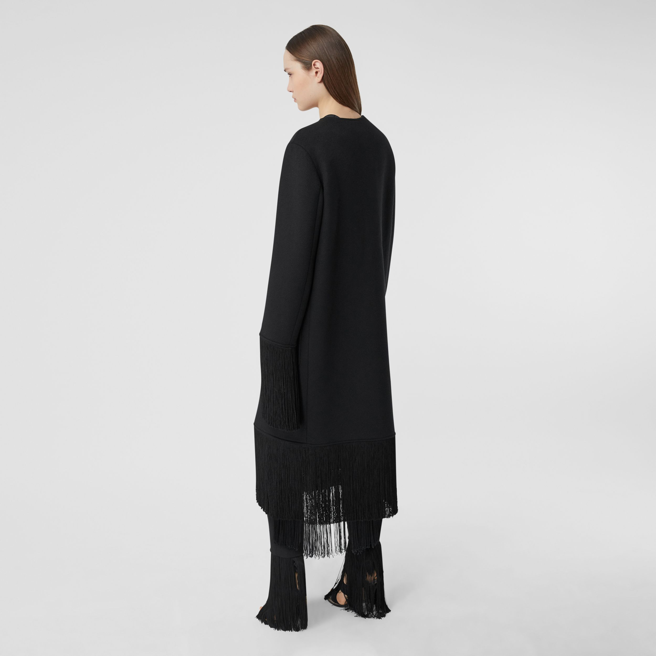 Fringed Double-faced Wool Cashmere Car Coat in Black - Women | Burberry - 3