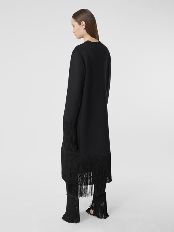 Fringed Double-faced Wool Cashmere Car Coat in Black - Women | Burberry United Kingdom - cell image 2