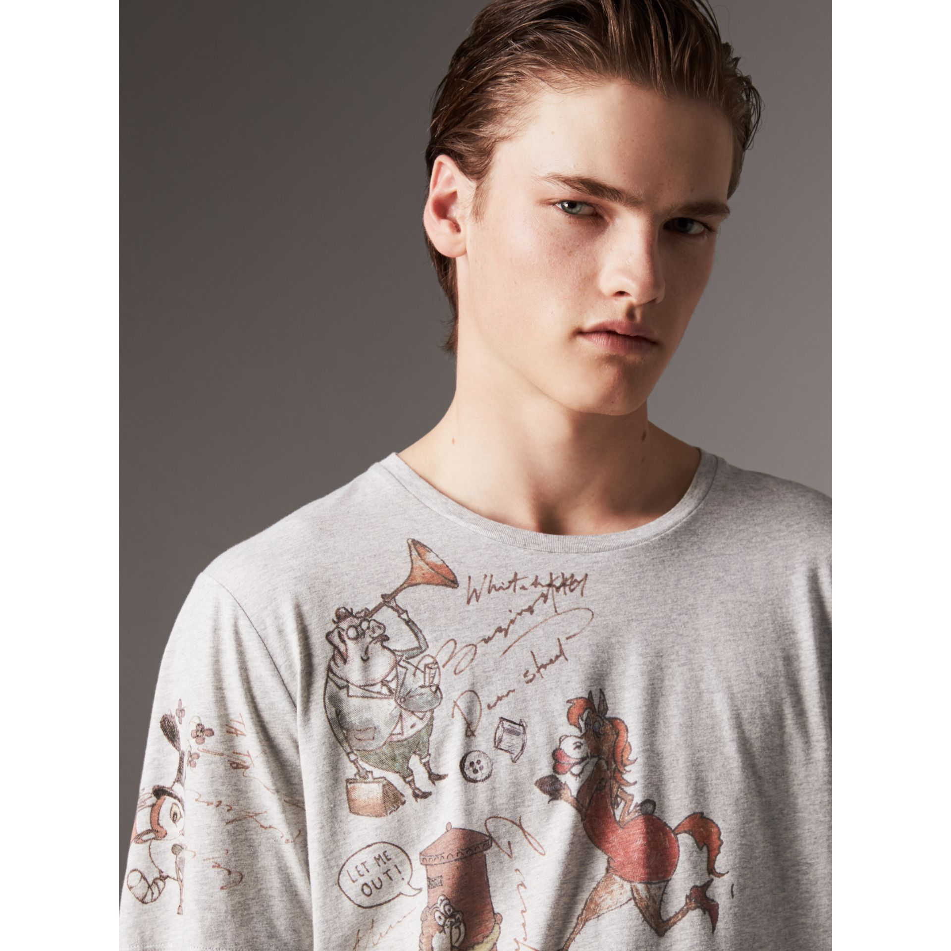 Sketch Print Cotton T-shirt in Pale Grey Melange - Men | Burberry United Kingdom - gallery image 1