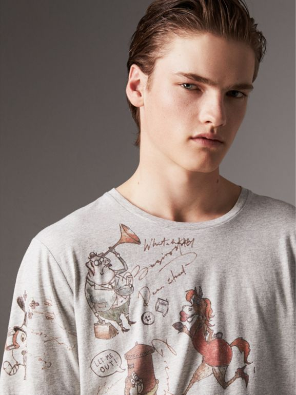 Sketch Print Cotton T-shirt in Pale Grey Melange - Men | Burberry - cell image 1