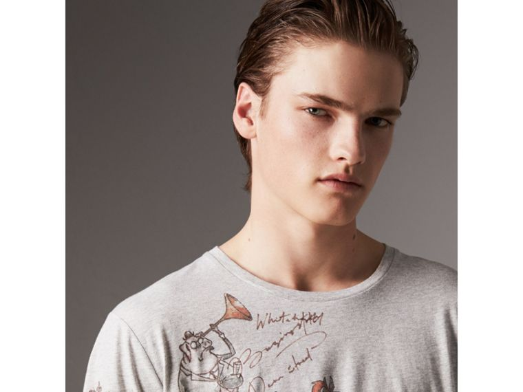 Sketch Print Cotton T-shirt in Pale Grey Melange - Men | Burberry United Kingdom - cell image 1