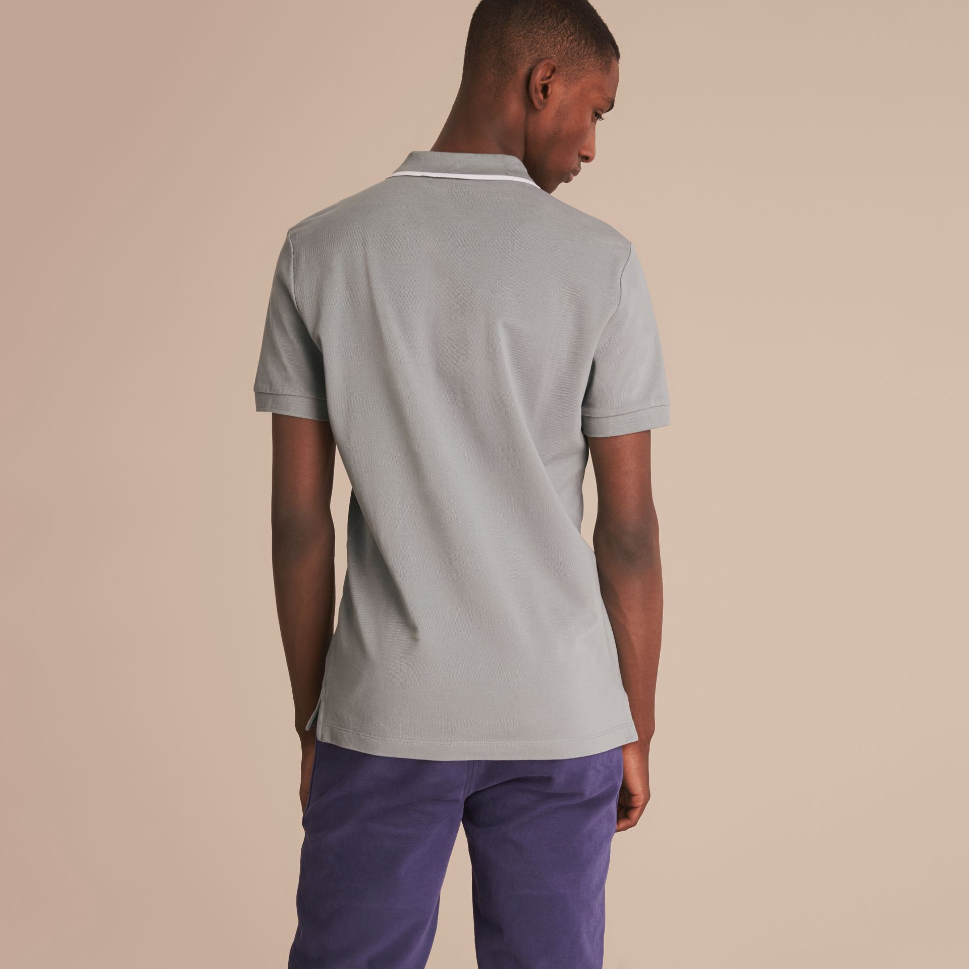 Tipped Collar Cotton Piqué Polo Shirt in Mist Grey - gallery image 3