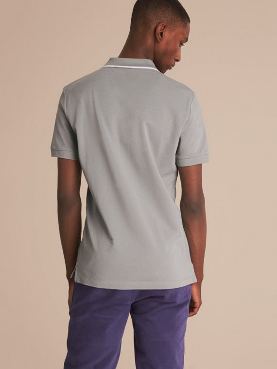 Tipped Collar Cotton Piqué Polo Shirt in Mist Grey - cell image 2