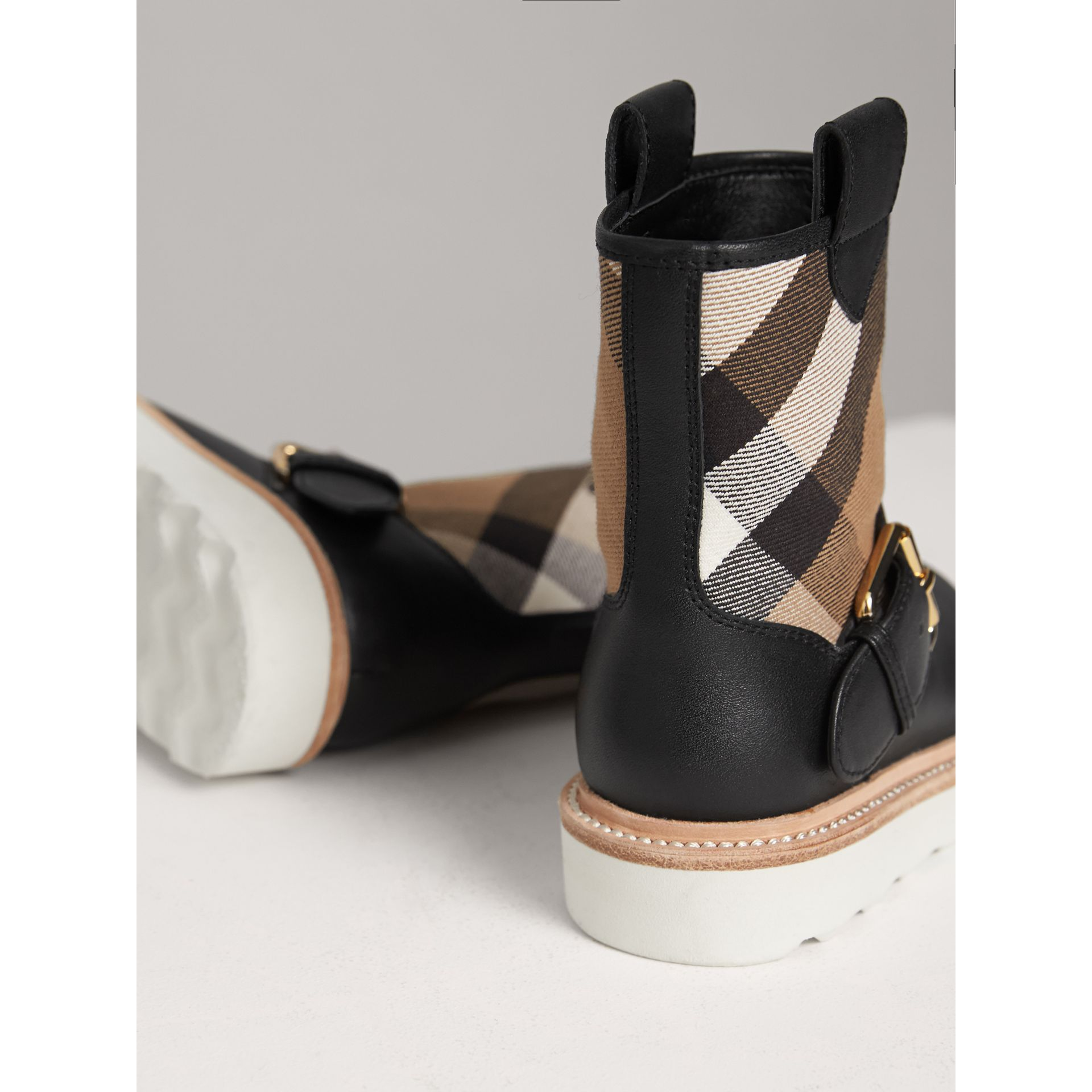 House Check and Leather Weather Boots in Classic | Burberry - gallery image 2