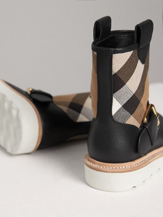 House Check and Leather Weather Boots in Classic | Burberry Singapore - cell image 2