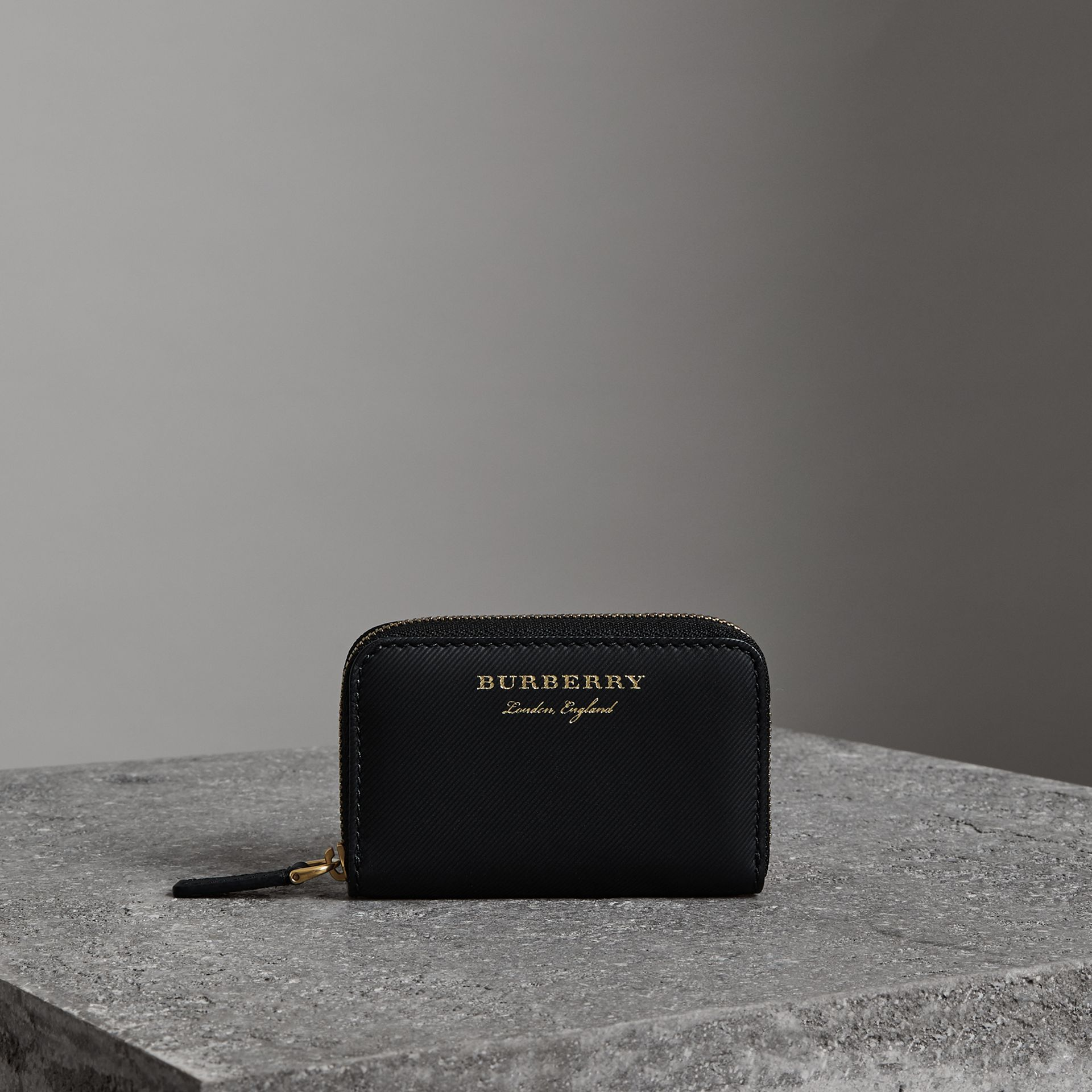 Trench Leather Ziparound Coin Case in Black - Men | Burberry - gallery image 0