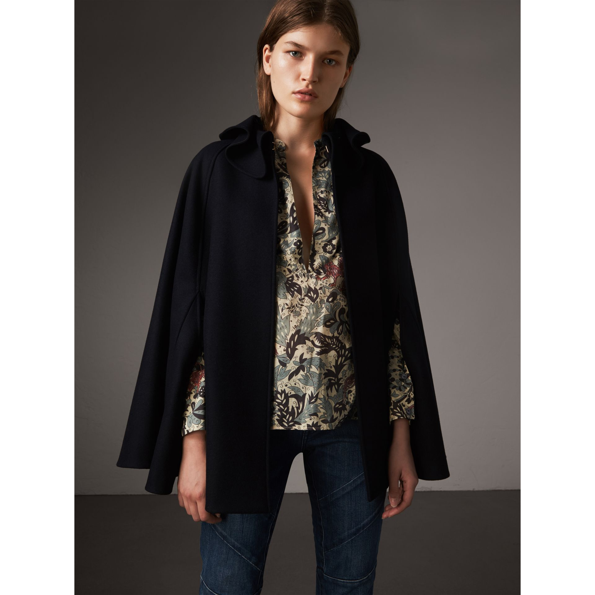 Ruffle Collar Wool Cape in True Navy - Women | Burberry Canada - gallery image 0