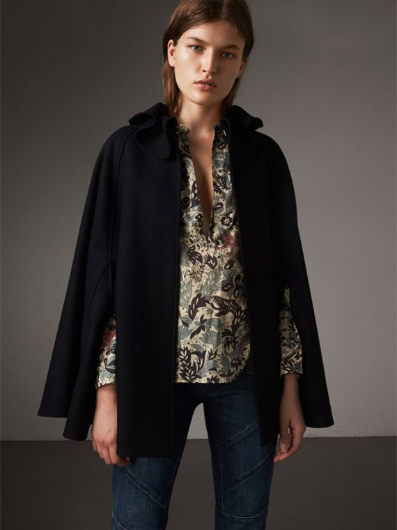 Ruffle Collar Wool Cape in True Navy