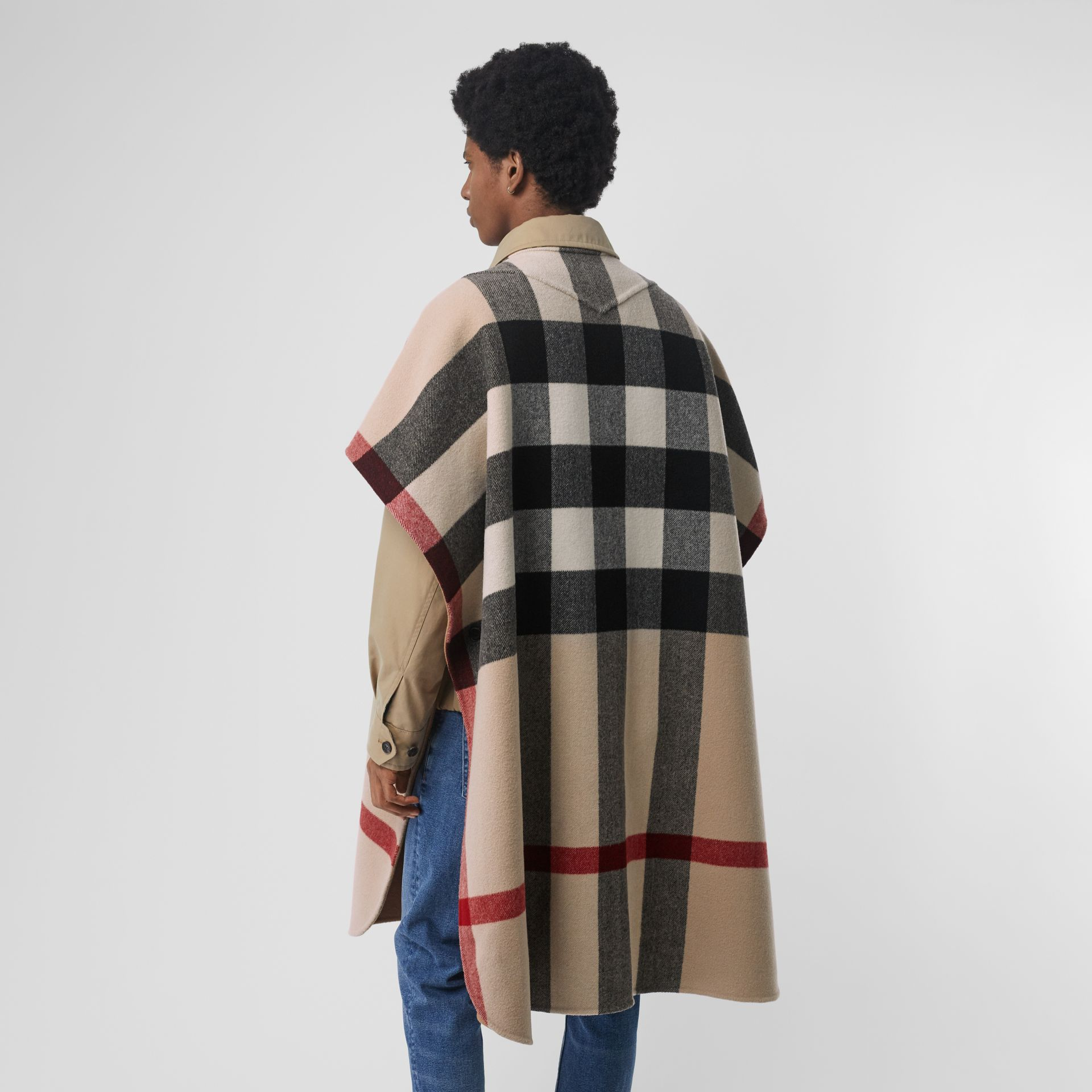 Reversible Check Wool Blend Poncho in Camel | Burberry Australia - gallery image 6